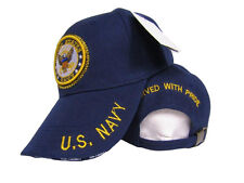 US Navy Emblem Seal Crest Served With Pride Retired Blue Hat Ball Cap (RUF)