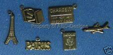 90pc Hematite Plate Paris Vacation Travel Charms 5639