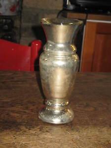 OLD VARNISH SILVERED GLASS VASE