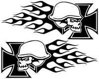 Iron Skull mit Flammen Eisernes Kreuz Totenkopf Aufkleber Sticker,Tuning,12X30cm