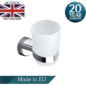 Toothbrush Holder Drinking Glass Tumbler Toothpaste Stainless Steel Wall Mounted