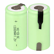 2pcs/Lot 1.2V 1300mAh Sub C SC Ni-Cd NiCd Rechargeable Battery Nicd Batteries