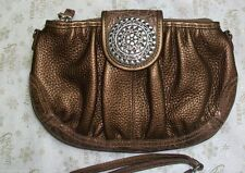 NWT  BRIGHTON  Bronze Leather Handbag with Shoulder Strap and Wristlet Strap