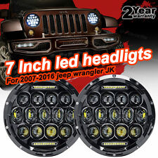 Pair 7inch Round LED Headlight Hi/Lo Beam Headlamp Projector For Jeep Wrangler