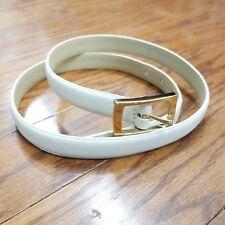Liz Claiborne Ivory Leather Thin Belt Rectangular Gold Buckle Sz Large