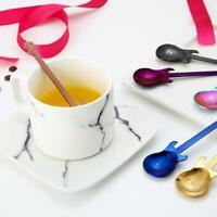 2/4/7pcs Stainless Steel Guitar Coffee Mixing Spoon Tableware Kitchen Teaspoon