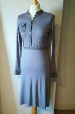 BNWOT Topshop Midi Jersey Dress Button Long Sleeve Grey Waist Tie Bodycon 10