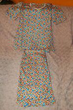"Pyjama Vintage Fille 10 ans ""motif fleurs"" orange,bleu,blanc"