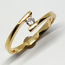 14K solid yellow gold 3mm white Topaz faceted round shape ring, 1.8 gram