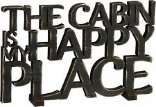 "Black Wood Word Art Sign~""THE CABIN IS MY HAPPY PLACE""~Plaque/Stand~Home Decor"