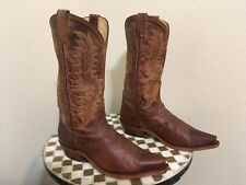 VINTAGE POINTY TONA LAMA BROWN ROCKABILLY DISTRESSED RANCH WORK BOOTS 9.5 D