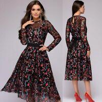 Women's Floral Print Long Sleeve Dress A-line Boho Sheer Mesh Cocktail Skirt