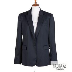 STELLA MCCARTNEY Blazer 12 (IT48) Navy Blue Wool Single-Button Peak Lapel Jacket