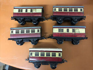 Hornby O Gauge 5 x Blood & Custard No1 Passenger Wagons