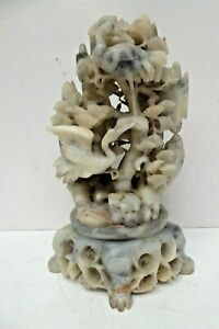 OLD CHINESE CARVED SOAPSTONE ORNATE CRANES TREES FLORAL DECORATED STATUE