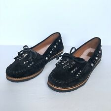 Coach Black Suede Studded Roccasin Slip-On Shoes Size 8B