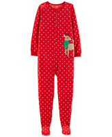 Carter's Little & Big Girls Footed Reindeer Fleece Pajamas, Size 5, Retail $30