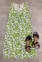 Adini A Line Dress Sleeveless Size S Knee Length Floral Green Mix Indian Cotton