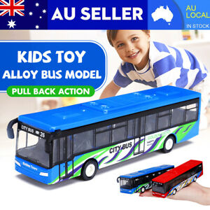 1:64 Scale Pull Back Shuttle Bus Toy Kids Model Physical Drive The City Bus AU