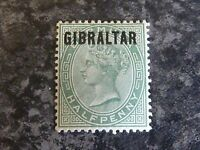 GIBRALTAR POSTAGE STAMP SG1 1/2D DULL GREEN 1886 LIGHTLY MOUNTED MINT