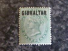 GIBRALTAR POSTAGE STAMP SG1 1/2D DULL GREEN 1886 LMM