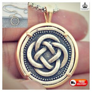 Irish Symbol Pendant Men's Necklace Vintage Amulet Knot Box Chain Antique Gold