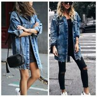 Women Blue Denim Jacket Fashion Outwear Oversize Casual Loose Vintage Long Coat