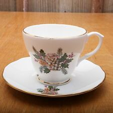 Duchess Bone China Leaf Holly Presents Cup and Saucer Tea Made In England