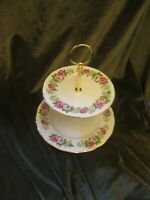 PRETTY  COLCLOUGH CHINA ENGLAND PLATED 2 TIER CAKE STAND ENCHANTMENT'