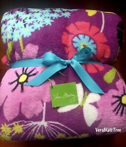 Vera Bradley COZY Throw Blanket FLUTTERBY BUTTERFLY Purple Floral NWT RARE New
