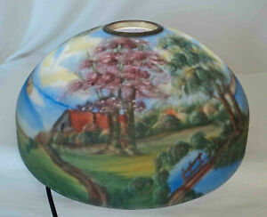 """Antique 16.5"""" Reverse Painted Glass Lamp Shade ~ Cracked"""