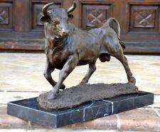 Fait Main Bronze Skulptur-Bronze Taureau Signé A. L. Barye sur Socle en Marbre