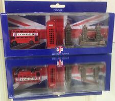 London Souvenirs Mini Die cast Figures Bus Tel Big Ben Tower Bridge in Gift Set