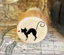 Wine Stopper, Silhouette Cat Handmade Wood Bottle Stopper, Cat Gift Style 3