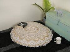 """Indian Red Mandala Large Floor Pillow Meditation Cotton Round Cushion Cover 32"""""""
