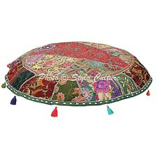 indian Handmade Cotton Floor Cushion Cover Decorative embroidered Pouf Cover