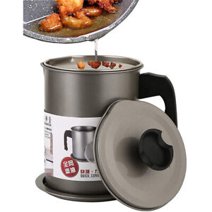 1.4L Bacon Grease Oil Container Keeper Storage Can with Strainer Stainless Steel