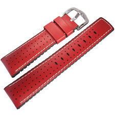 20mm Hirsch Performance Tiger Perforated Red Leather and Rubber Watch Band Strap