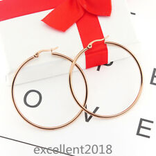 Women Rose Gold Stainless Steel 60 mm  Large Round Hoop Allergy Free Earrings