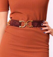 Vintage brown suede Ferragamo belt -gold buckles brown suede Salvatore Ferragamo