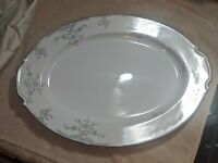 "PHOEBE BY NARUMI JAPAN 17"" x 12 1/4"" BLUE ROSE/SILVER TRIM PLATTER"