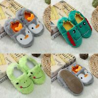 Toddler Kids Winter Warm Flock Shoes Boys Girls Cartoon Baby Soft-Soled Slippers