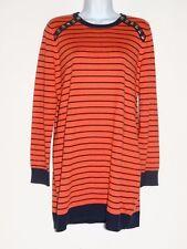 Michael Kors Womens Orange Black  L/S Cotton Blend Sweater Sz M  Free Shipping