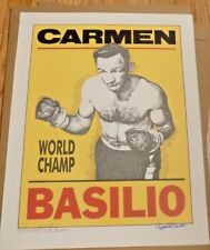Carmen Basilio Autographed Murray Tinkleman 16x20 Poster Lithograph