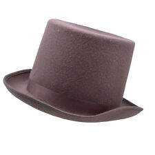 Woolen Felt Brown Top Hat Ascot Victorian Gentleman Fancy Dress Costume Prop