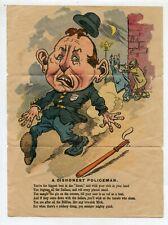 "Antique The Dishonest Policeman Cartoon Print Poem 9 1/2"" X 7"""