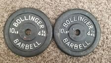 "2 Vintage Bollinger 10lb Weight Plates total weight 20lbs Standard 1"" Hole"