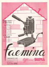 PUBBLICITA 1954 MACCHINA CAFFE' ESPRESSO FAEMINA CASA BAR OFFICINA FAEMA