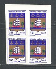 IVORY COAST 1969, COAT OF ARMS, SHIP, Scott 283, BLOCK X 4 IMPERFORATE, MNH