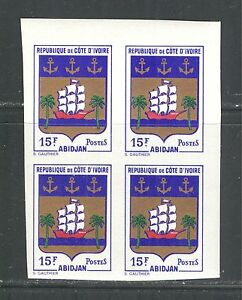 IVORY COAST 1969, COAT OF ARMS, SHIP, Scott 283, BLOCK X 4 IMPERFORATE, MNH